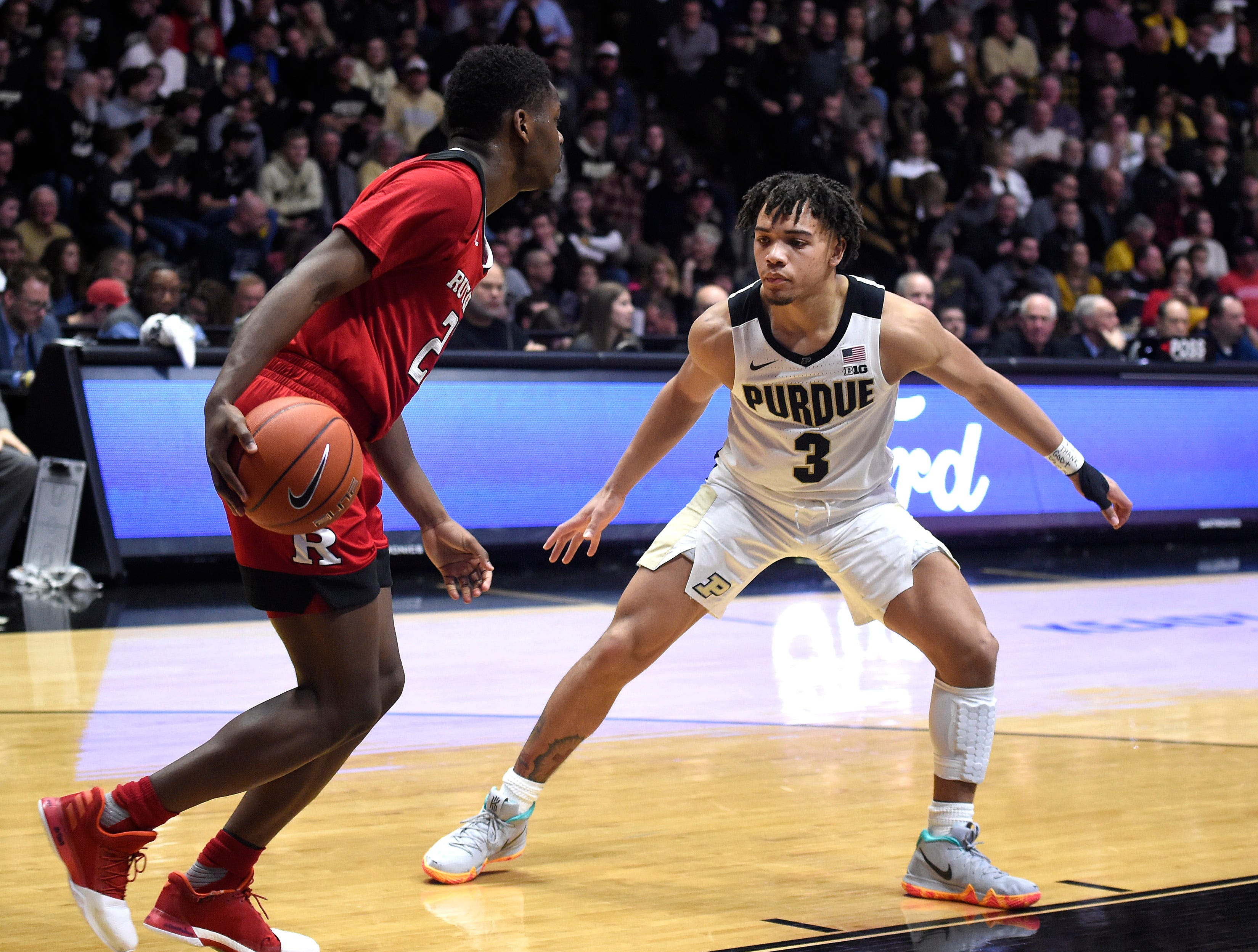Jan 15, 2019; West Lafayette, IN, USA; Purdue Boilermakers guard Carsen Edwards (3) on the defense against the Rutgers Scarlet Knights in the 2nd half at Mackey Arena. Mandatory Credit: Sandra Dukes-USA TODAY Sports
