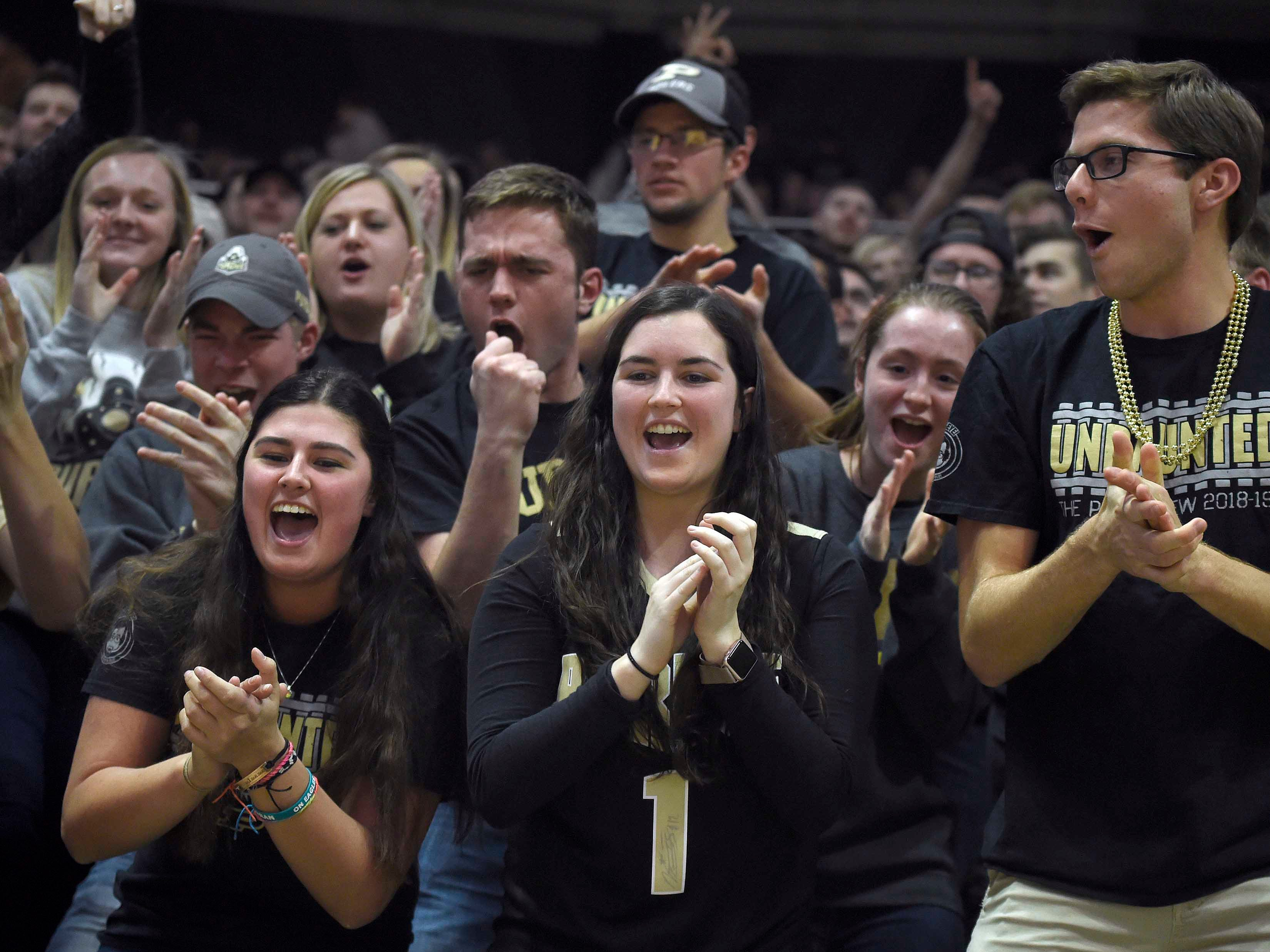 Jan 15, 2019; West Lafayette, IN, USA; members of the Purdue Boilermaker Paint Crew before the game at Mackey Arena. Mandatory Credit: Sandra Dukes-USA TODAY Sports