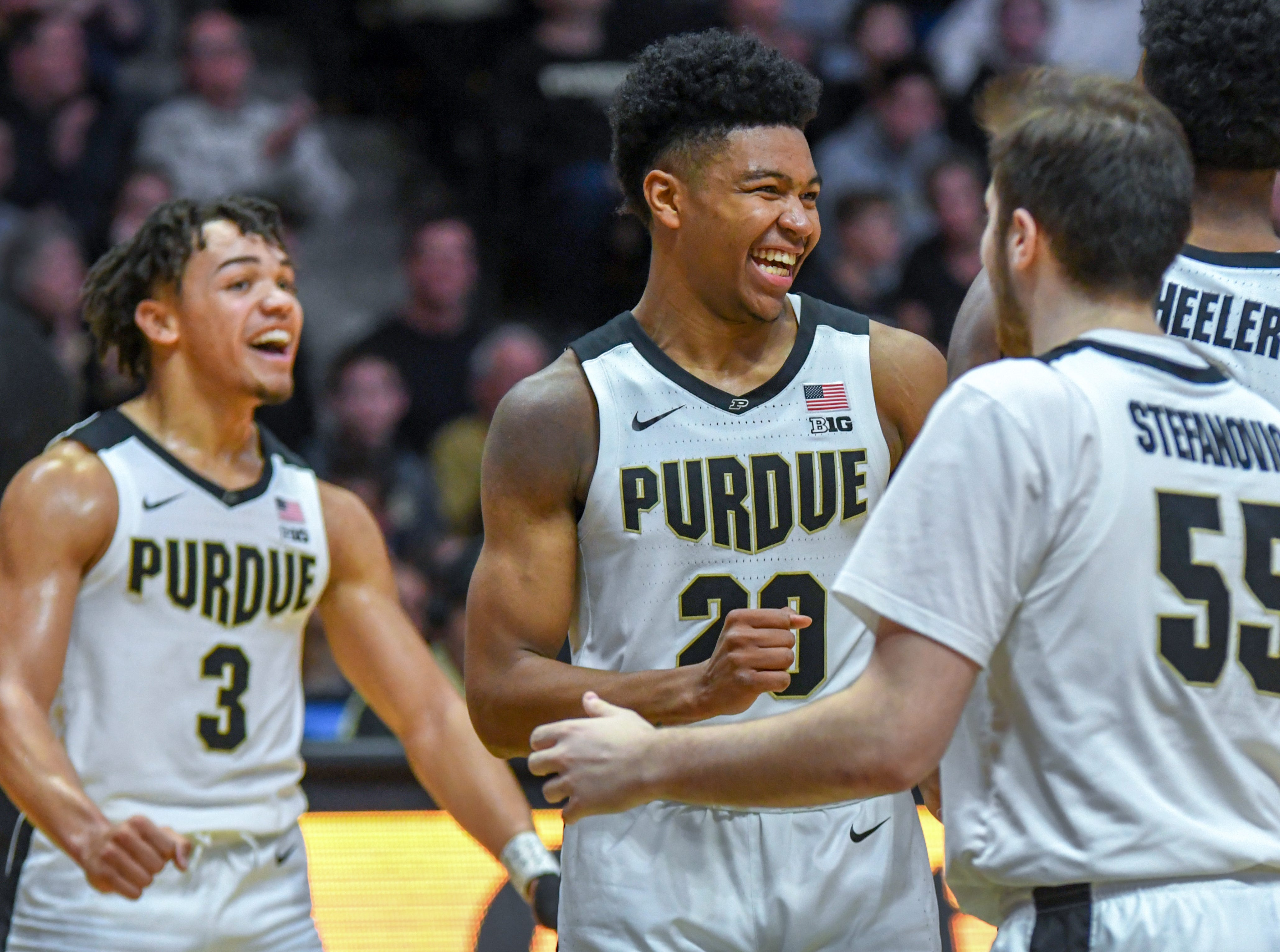 Action from Purdue's 89-54 win over Rutgers at Purdue University in West Lafayette on January 15, 2019. Carsen Edwards, Nojel Eastern and Sasha Stefanovic.