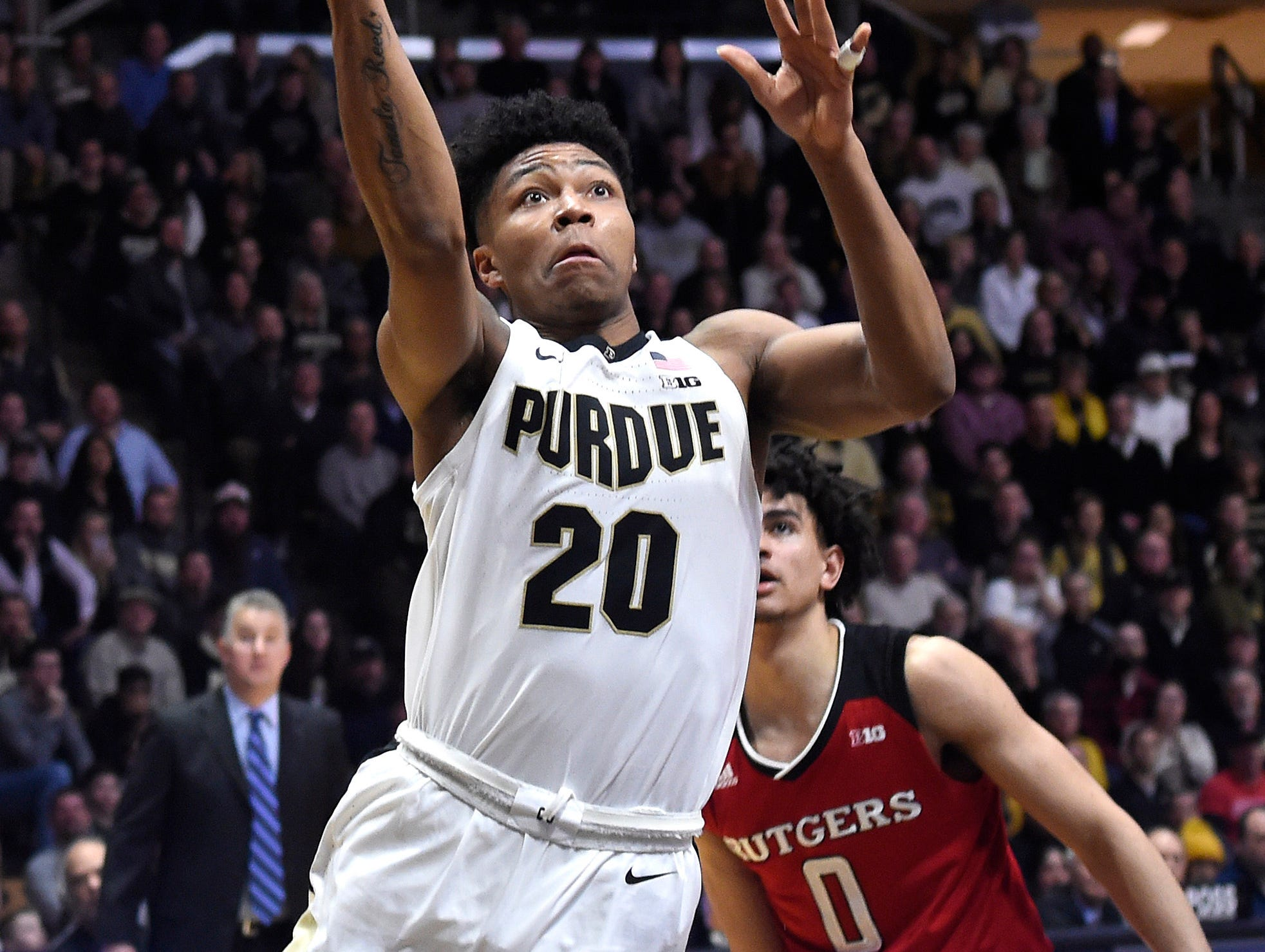 Jan 15, 2019; West Lafayette, IN, USA; Purdue Boilermakers guard Nojel Eastern (20) drives Rutgers Scarlet Knights guard Geo Baker (0) in the 2nd half at Mackey Arena. Mandatory Credit: Sandra Dukes-USA TODAY Sports