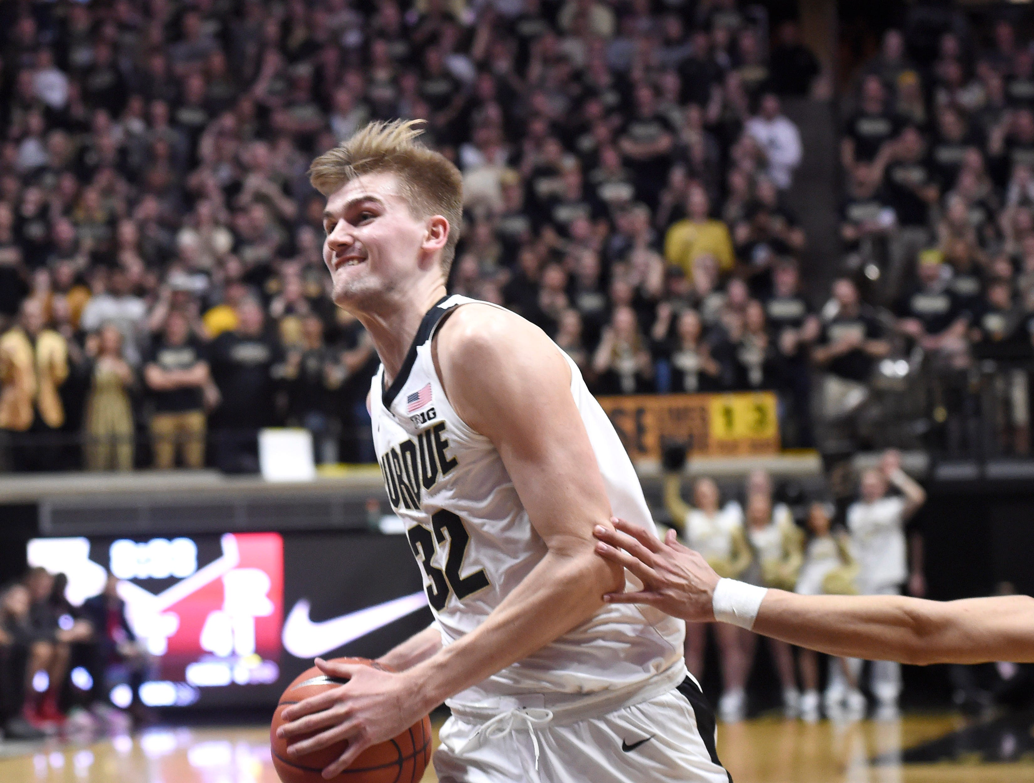 Jan 15, 2019; West Lafayette, IN, USA; Purdue Boilermakers center Matt Haarms (32) drives to the basket past the defense of the Rutgers Scarlet Knights in the 2nd half at Mackey Arena. Mandatory Credit: Sandra Dukes-USA TODAY Sports