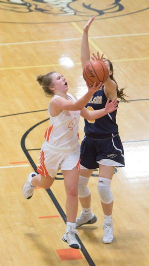 Brighton's Bella Vogt (4) scored a career-high 17 points in a 45-38 victory over Hartland on Tuesday, Jan. 15, 2019.