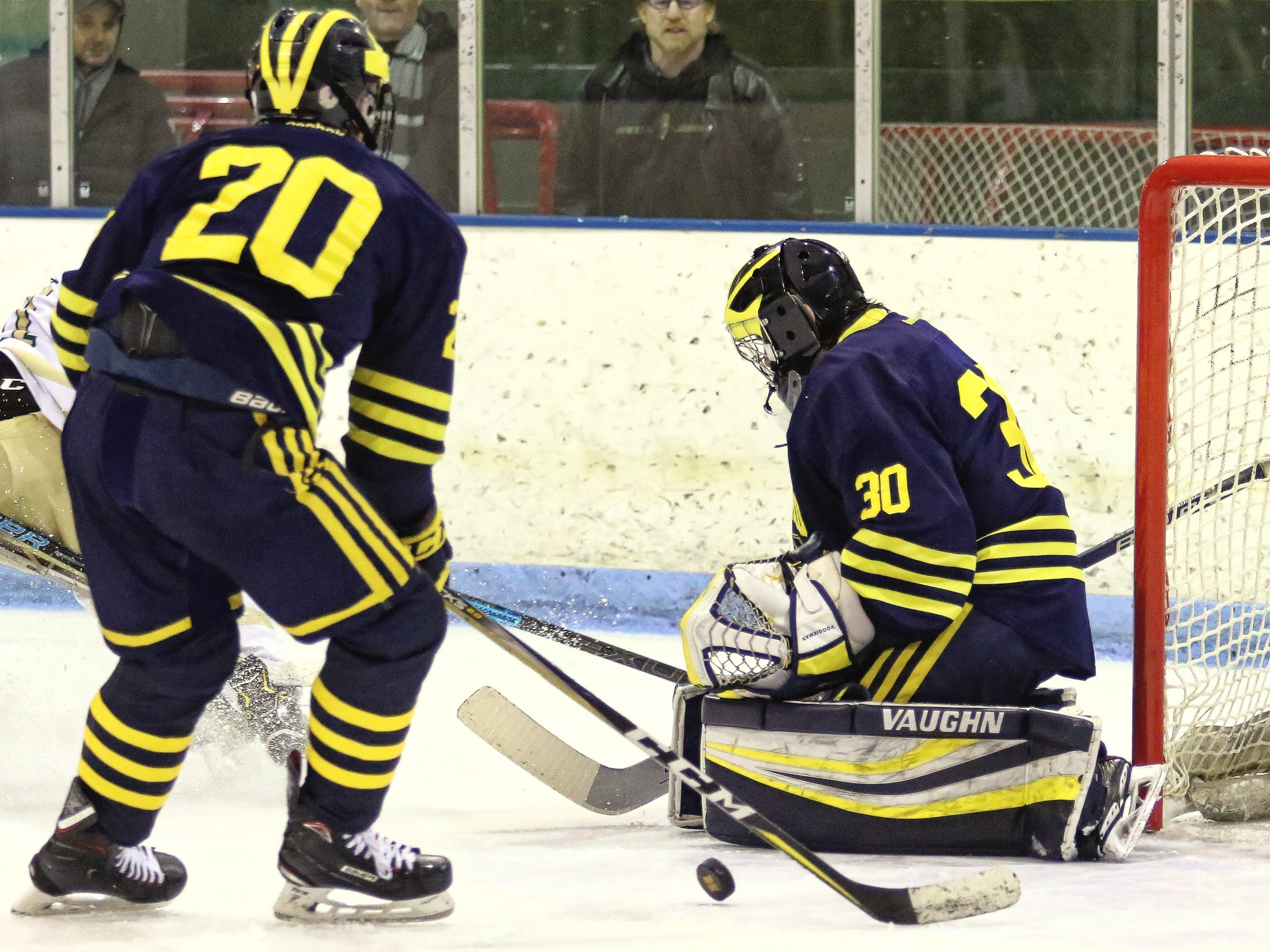 Brett Tome makes a save for Hartland while Grant Pietila (20) defends the front of the net in a 7-1 victory over Howell on Tuesday, Jan. 15, 2019.