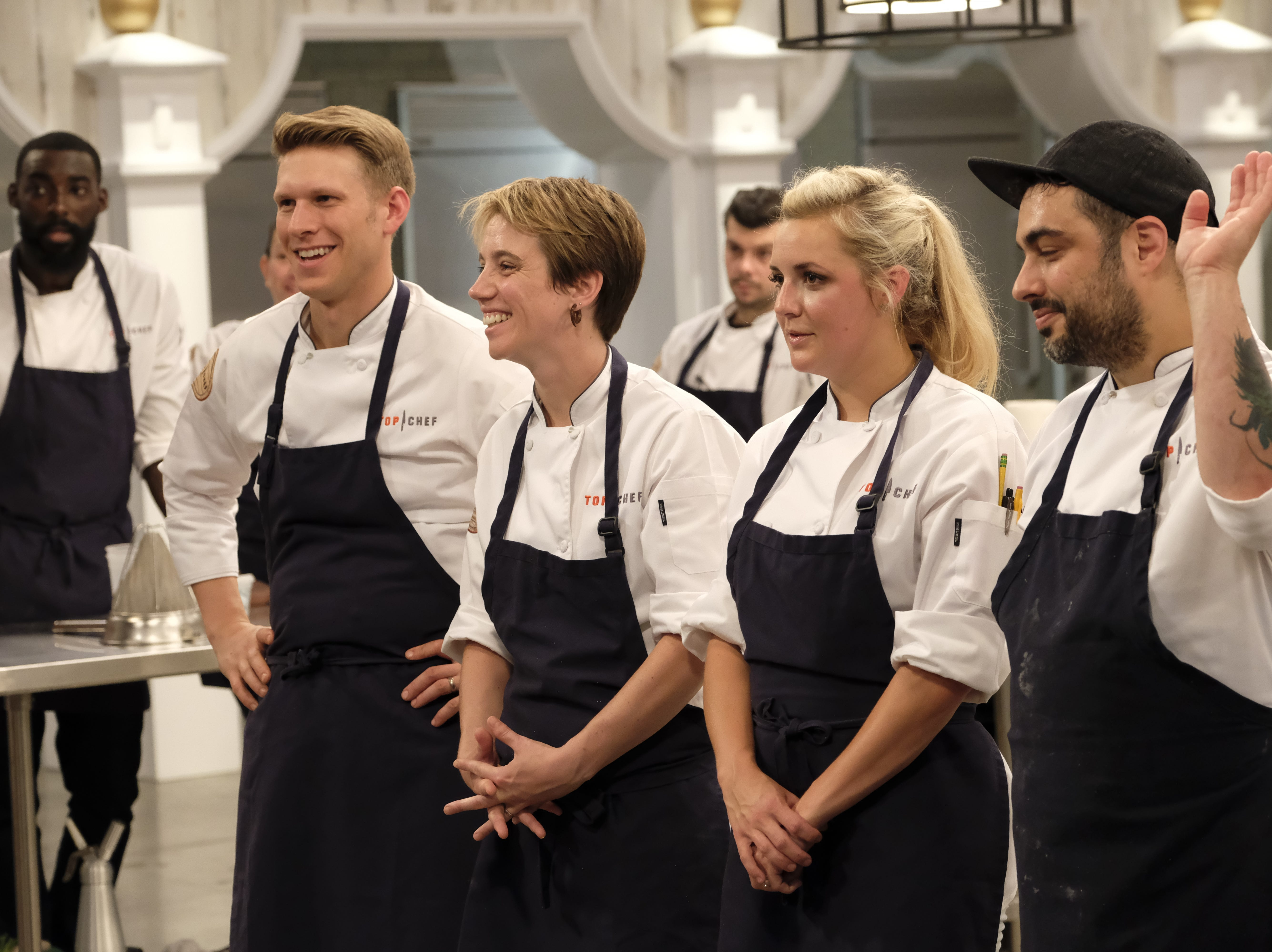(From left): Contestants Brandon Rosen, Adrienne Wright, Kesley Barnard and David Viana on episode 7 of Bravo's 'Top Chef: Kentucky.""
