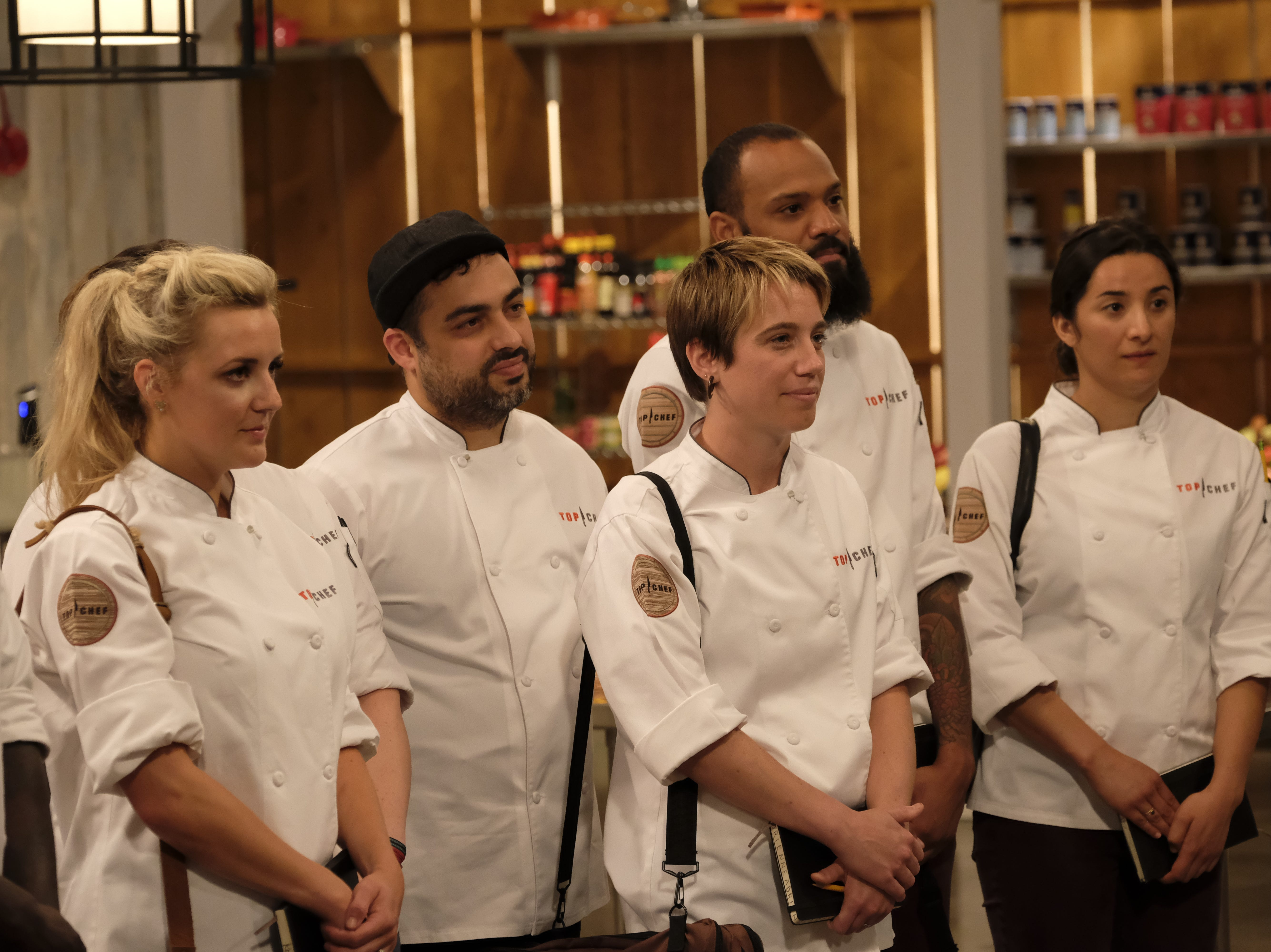 (From left): Contestants Kelsey Barnard, David Viana, Adrienne Wright, Justin Sutherland and Michelle Minori on  episode 7 of Bravo's 'Top Chef: Kentucky.