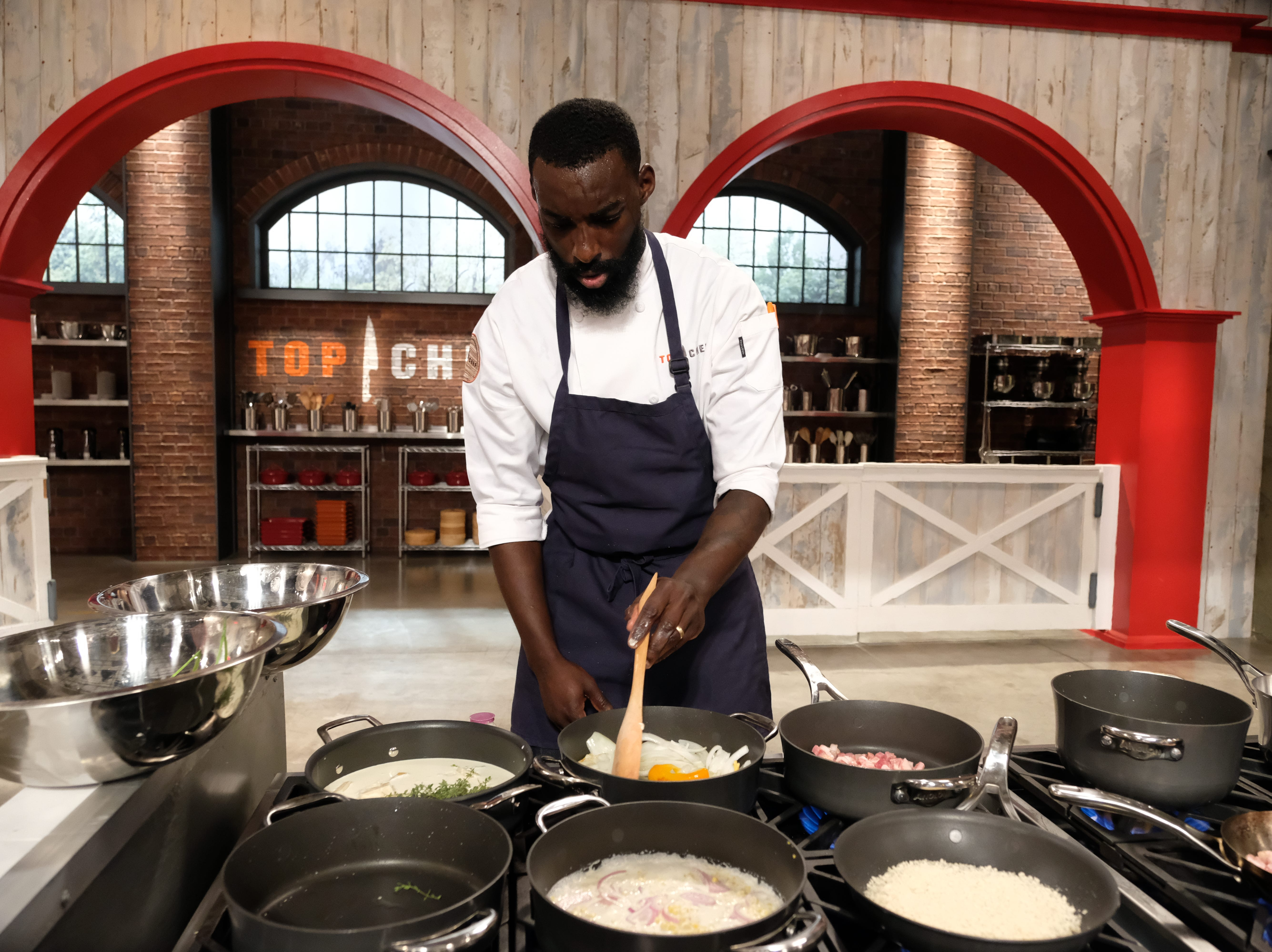 "Contestant Eric Adjepong on episode 7 of Bravo's ""Top Chef: Kentucky."""