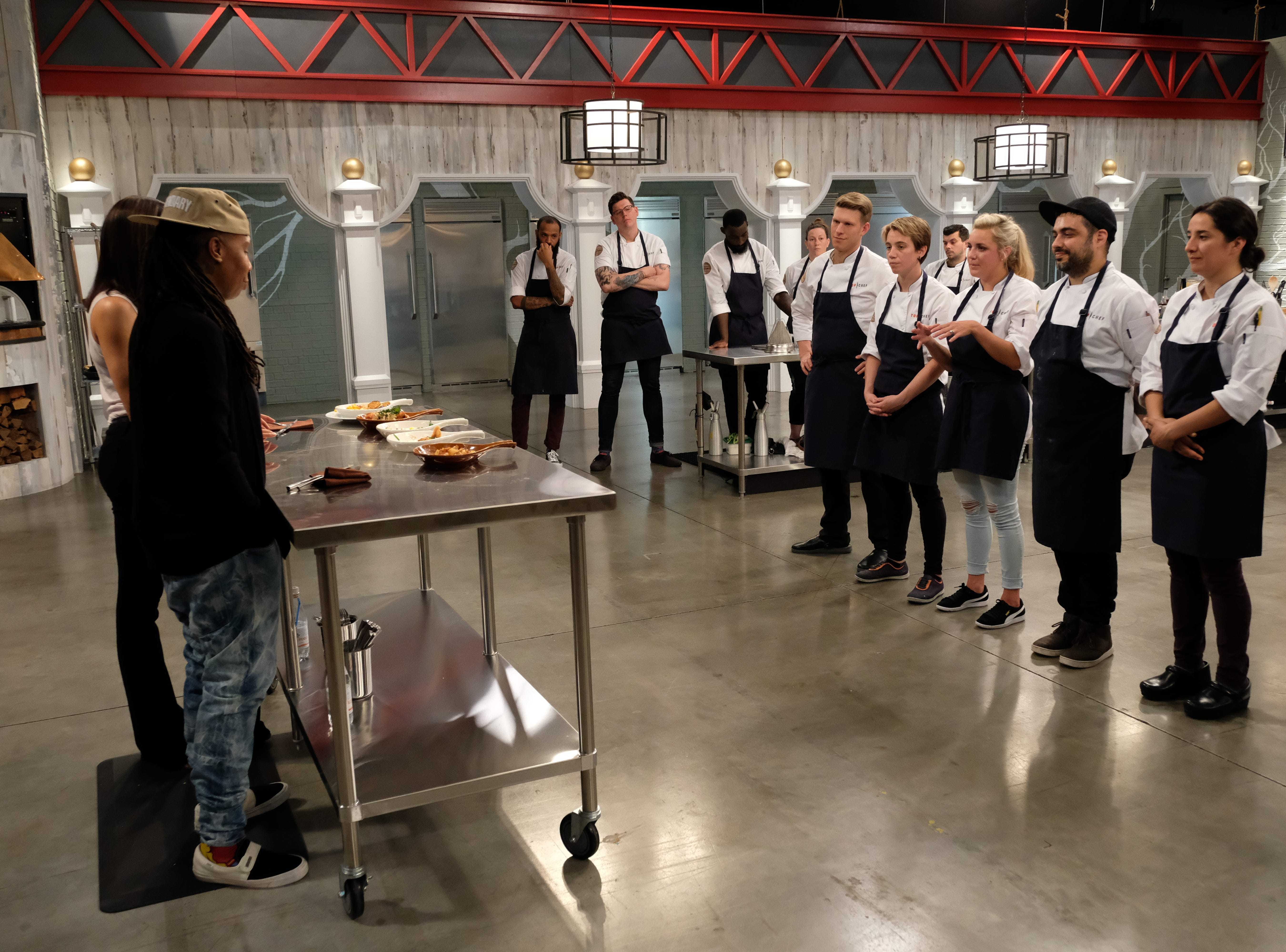 "Contestants listen as their ""Hot Brown"" is judged on episode 7 of Bravo's 'Top Chef: Kentucky."