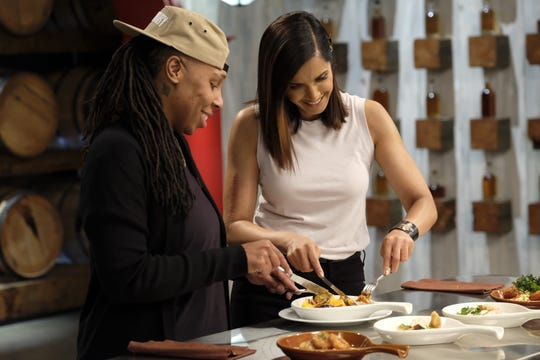 (From left): Lena Waithe  and host Padma Lakshmi sample some food on  episode 7 of Bravo's 'Top Chef: Kentucky.