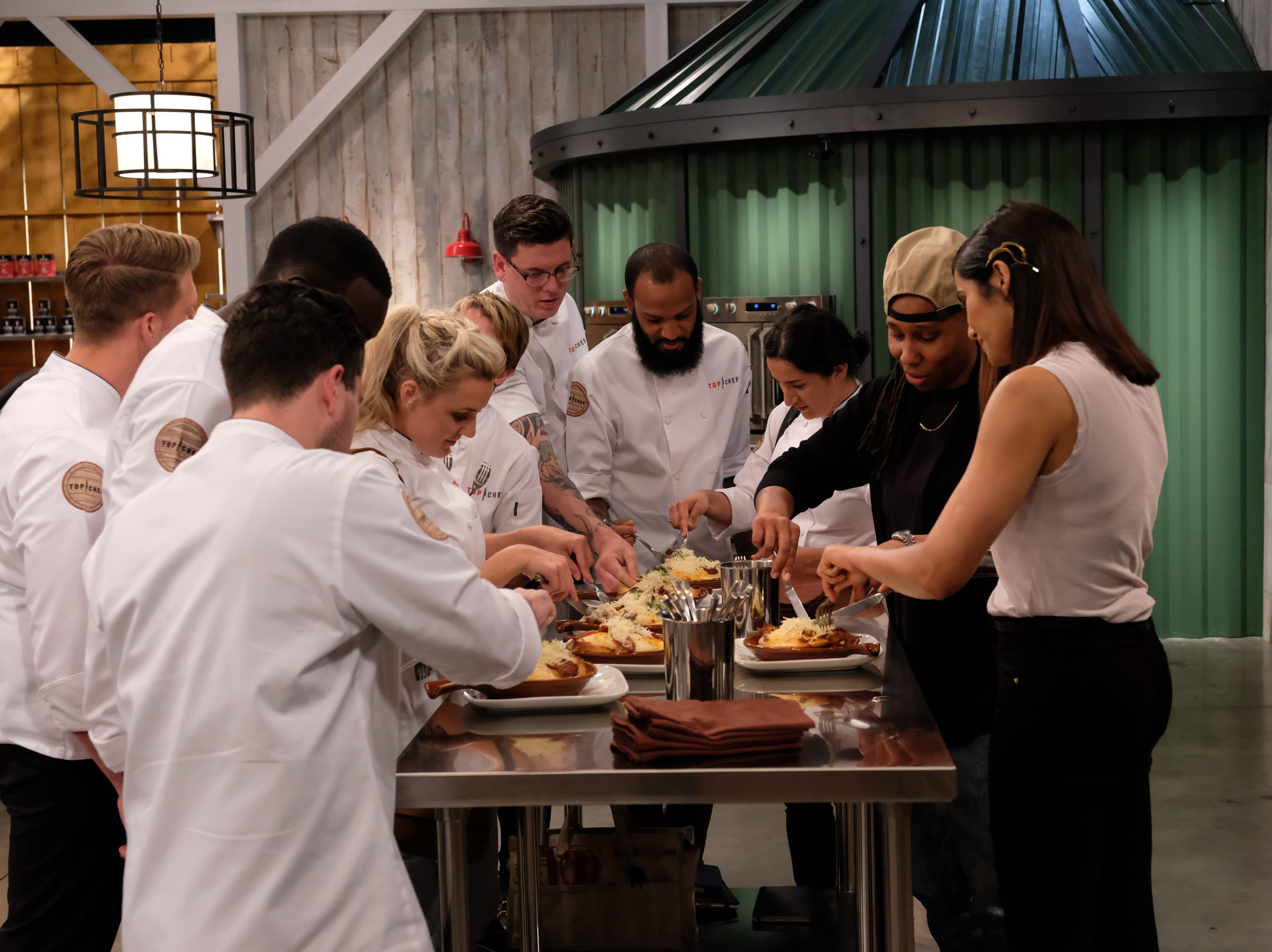 "Contestants dive in to some Kentucky Hot Brown's during episode 7 of Bravo's ""Top Chef: Kentucky."""
