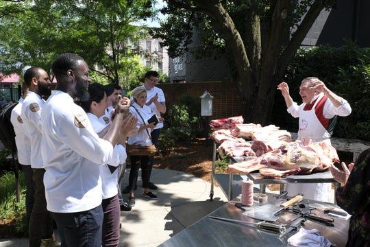 "Contestants watch butcher Dario Cecchini on episode 7 of Bravo's 'Top Chef: Kentucky."""