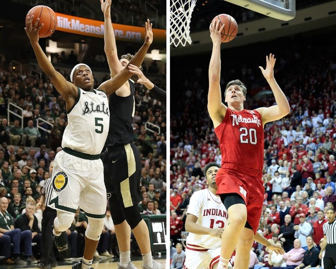From left: Michigan State's Cassius Winston and Nebraska's Tanner Borchardt.