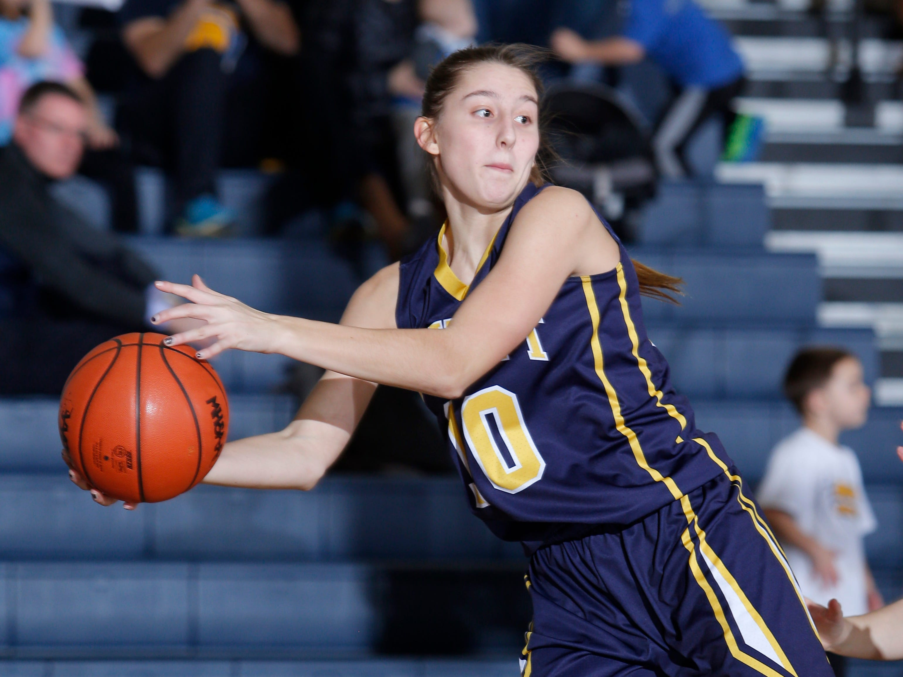 DeWitt's Sydney Mills saves the ball against Grand Ledge, Tuesday, Jan. 15, 2019, in Grand Ledge, Mich.