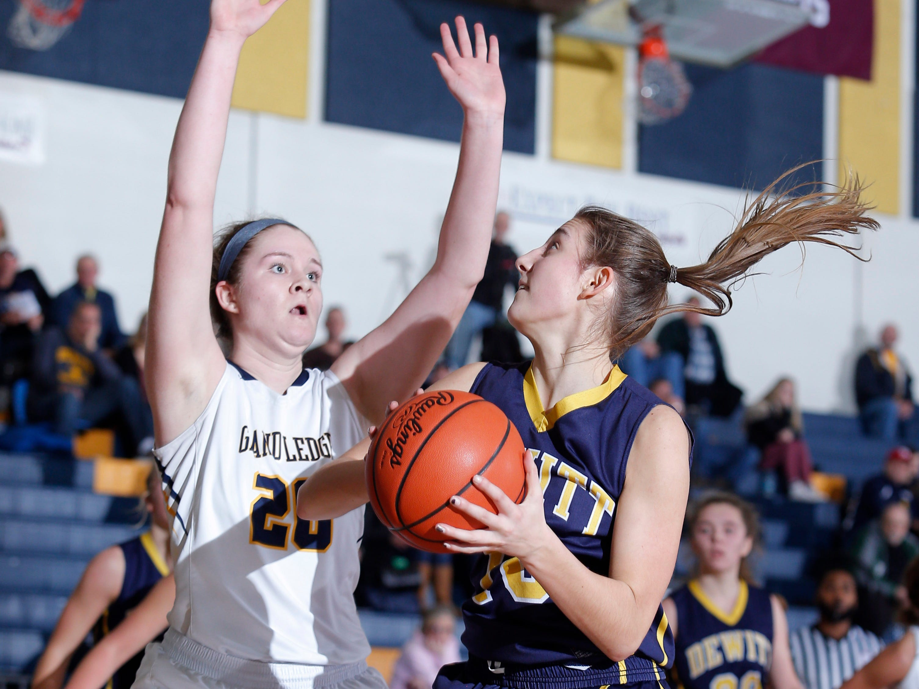 DeWitt's Sydney Mills, right, maneuvers for a shot against Grand Ledge's Courtney Sharland, Tuesday, Jan. 15, 2019, in Grand Ledge, Mich.