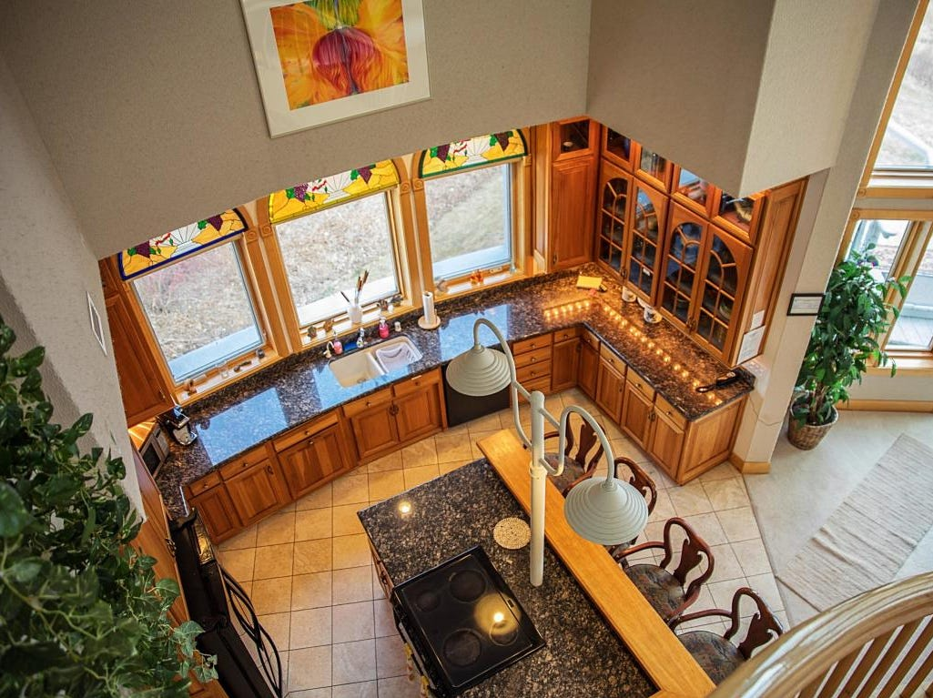 Manitowoc's dome home kitchen from above