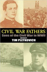 "William Upham (upper left) and his son, Fred Upham (lower right), on the cover of ""Civil War Fathers: Sons of the Civil War in WWII."""