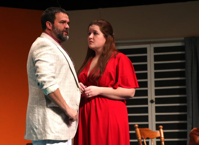 """Ryan Kiley and Lindsay Shoup during a rehearsal for """"Murder at the Howard Johnson's"""" at the Mansfield   Playhouse."""