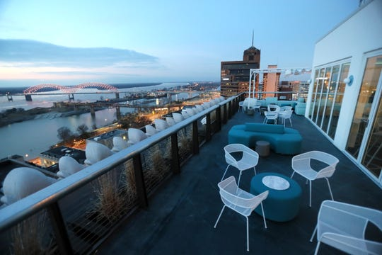 Hu. Hotel's new rooftop bar offers views of downtown Memphis and the Mississippi River.