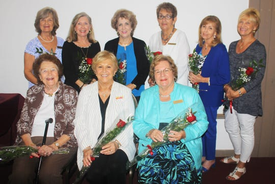 January birthday ladies are, seated: Erna Lovely, Bonnie Bozzo and Eileen Carlsen; standing: Billy Maine, Janet Dickens, Marsha Crawford, Anne Batte, Sandi Friend and Patti Fuenfinger.