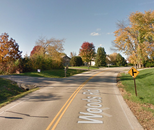 About where Woods Road curves south of Bendingbrae Drive, a car carrying two 16-year-old Muskego girls went off the road and hit a driveway culvert.