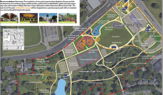 This map shows planned items for the entire Village Park project. The 2019 construction will focus near the corner of Garfield Drive and Appleton Avenue in Menomonee Falls.