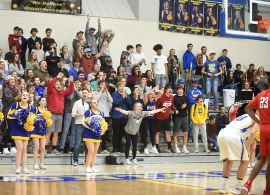 The Mountain Home student section makes noise during Marion free throws on Tuesday night.