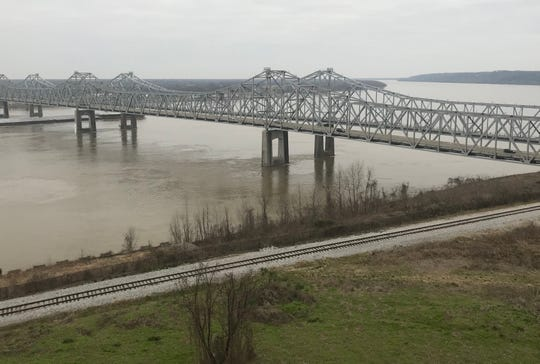 View of the Mississippi River on Jan. 16 from the bluff in Natchez, Miss.