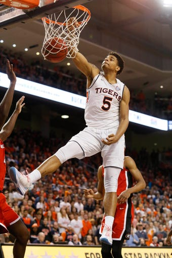 Jan 12, 2019; Auburn, AL, USA; Auburn Tigers forward Chuma Okeke (5) makes a shot against the Georgia Bulldogs during the second half at Auburn Arena. Mandatory Credit: John Reed-USA TODAY Sports