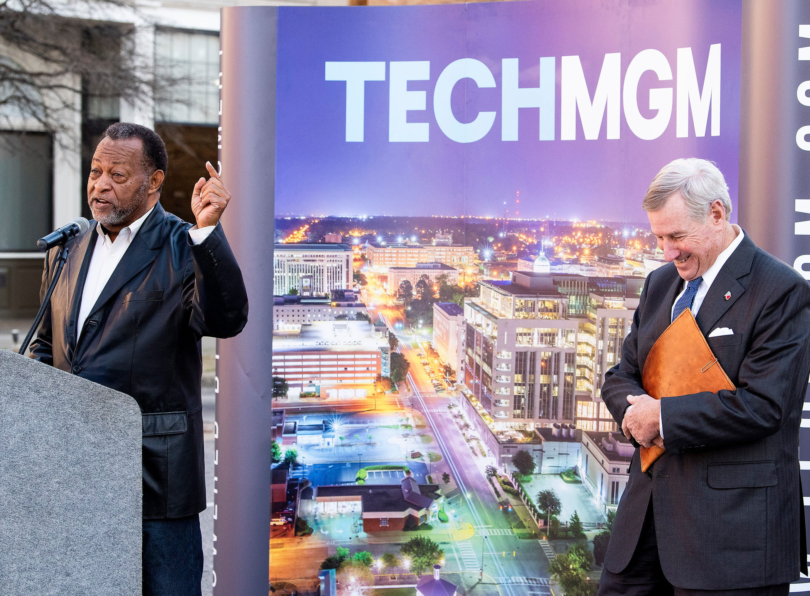 Montgomery County Commission Chairman Elton Dean, left, and Montgomery Mayor Todd Strange announce free 1GB WiFi and other tech improvements along the Commerce Street / Dexter Avenue corridor in downtown Montgomery, Ala., on Wednesday January 16, 2019.