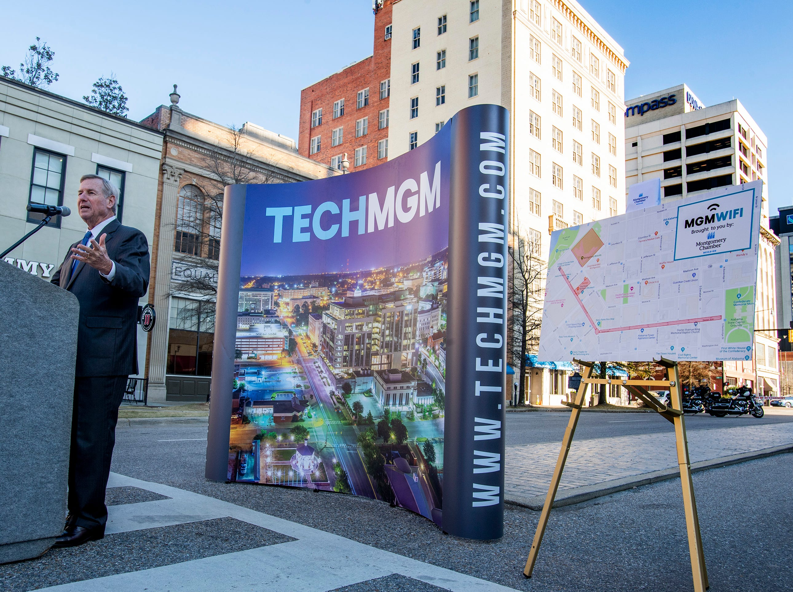 Montgomery Mayor Todd Strange announces free 1GB WiFi and other tech improvements along the Commerce Street / Dexter Avenue corridor in downtown Montgomery, Ala., on Wednesday January 16, 2019.