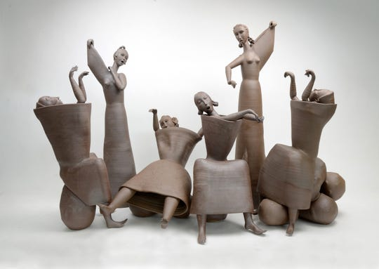 Gerit Grimm (German, born 1973), The Sirens, 2016, stoneware, 33 x 12 x 50 inches, Lent by the artist