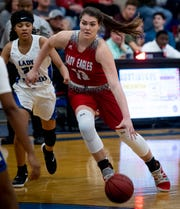 Pleasant Home's River Baldwin (13) drives against Georgiana in Georgiana, Ala., on Tuesday January 15, 2019.