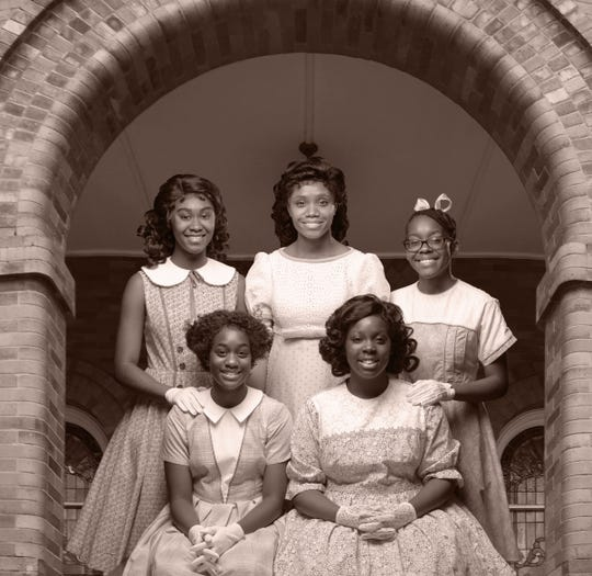"""Montgomery Public Schools students Antonisia Collins, Trinity Ross, Jalyn Crosby, Gaia Moore and Jhordyn Long from Alabama Shakespeare festival's production of """"Four Little Girls."""""""