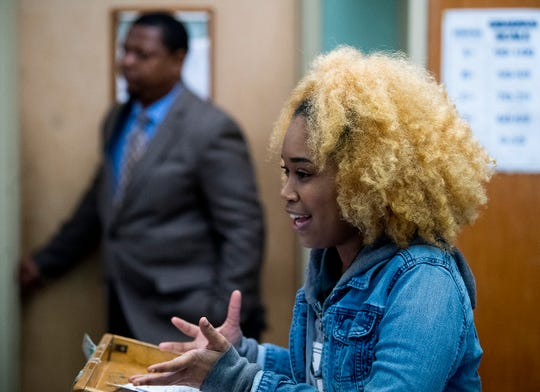 Nasia Crosby practices presenting a bill as the Jeff Davis High School Youth in Government Club meets to work on their legislation, at the school in Montgomery, Ala., on Wednesday January 16, 2019, in preparation for the upcoming Youth Legislature.