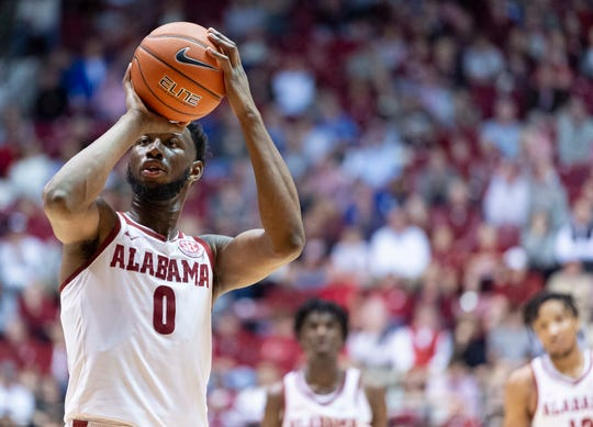 Alabama forward Donta Hall (0) shoots a free-throw against Kentucky during the second half of an NCAA college basketball game, Saturday, Jan. 5, 2019, in Tuscaloosa, Ala. (AP Photo/Vasha Hunt)