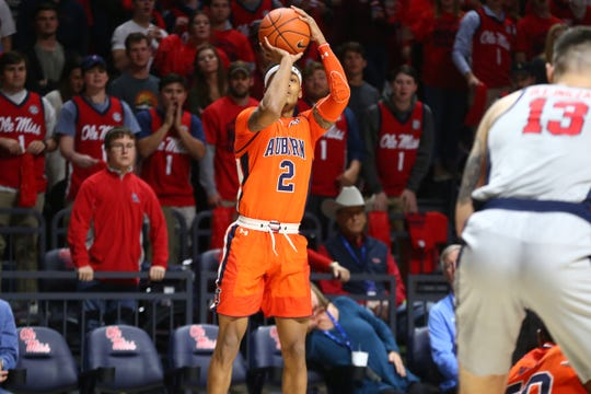 Auburn guard Bryce Brown attempts a shot against Ole Miss on Jan. 9, 2019, in Oxford, Miss.
