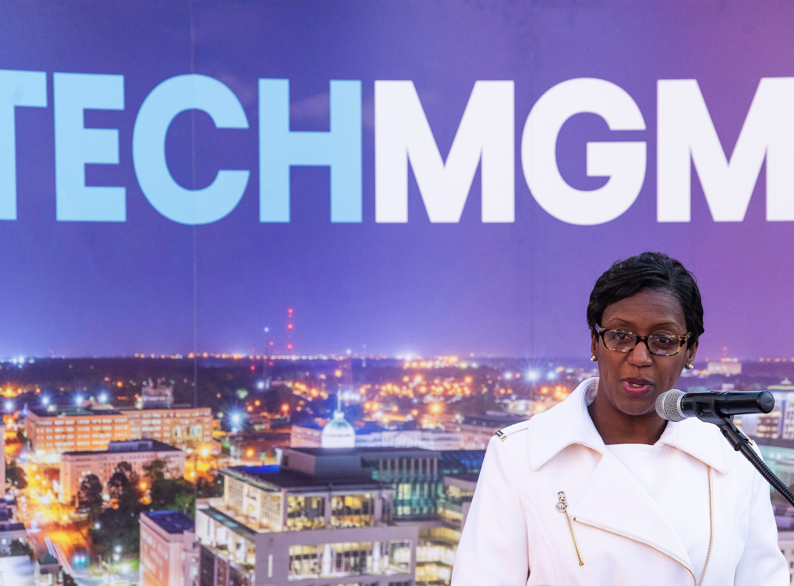 Charisse Stokes, Executive Director of TechMGM, speaks during the announcement of free 1GB WiFi and other tech improvements along the Commerce Street / Dexter Avenue corridor in downtown Montgomery, Ala., on Wednesday January 16, 2019.