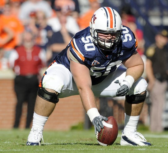 Auburn center Ryan Pugh waits to snap as Auburn plays Arkansas in Auburn in the first half Saturday, Oct. 16, 2010. (Montgomery Advertiser, David Bundy)