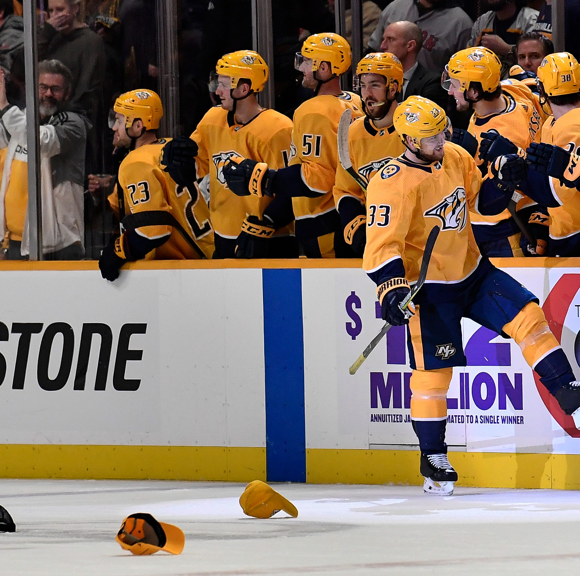 Viktor Arvidsson records hat trick (on National Hat Day) as Preds top Caps 7-2