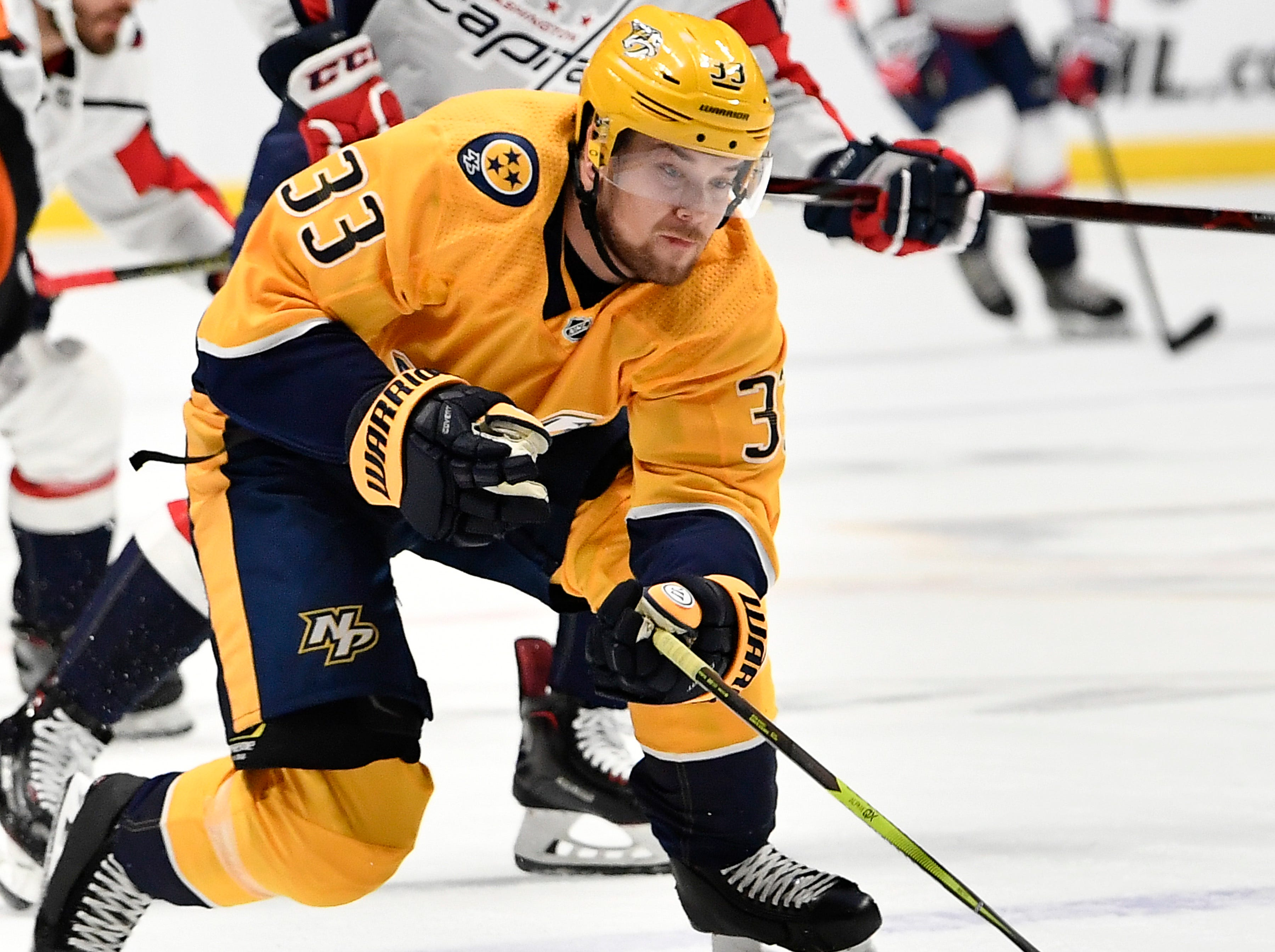 Predators right wing Viktor Arvidsson (33) speeds past the Capitals during the first period at Bridgestone Arena Tuesday, Jan. 15, 2019, in Nashville, Tenn.