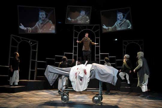 "Sam Ashdown makes a speech as Mark Antony in Nashville Shakespeare Festival's winter production of ""Julius Caesar."""