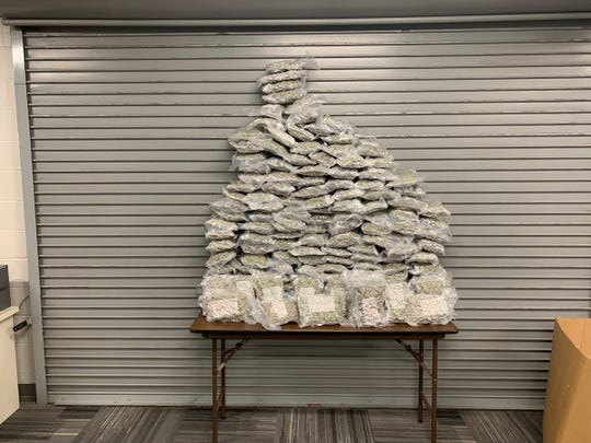 Nashville police seized more than 150 pounds of marijuana at Nashville International Airport on Tuesday.