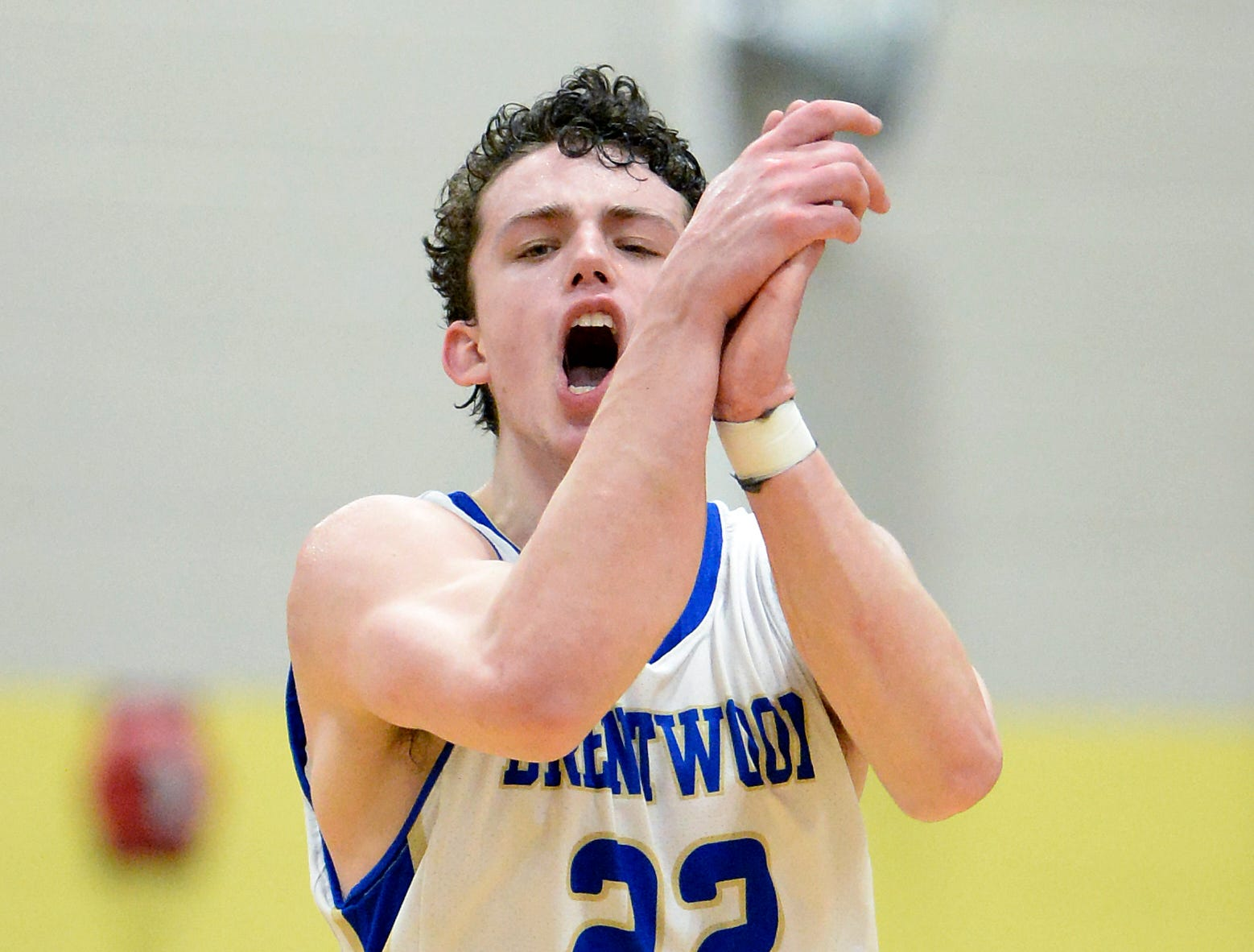 Brentwood guard Harry Lackey (22) celebrates after making a basket against Franklin during the second half of an High School basketball game Tuesday, Jan. 15, 2019, in Brentwood, Tenn. Franklin won 53-51.