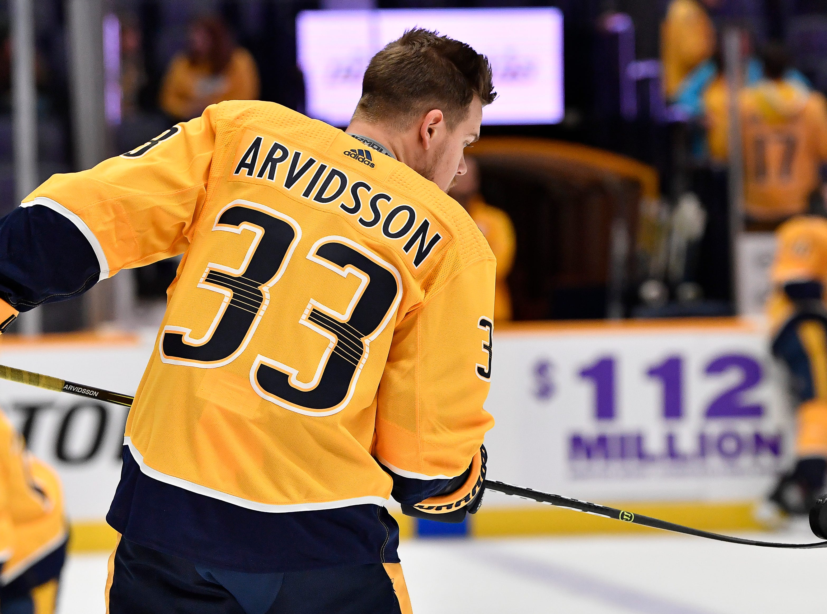 Predators right wing Viktor Arvidsson (33) warms up before the game against the Capitals at Bridgestone Arena Tuesday, Jan. 15, 2019, in Nashville, Tenn.