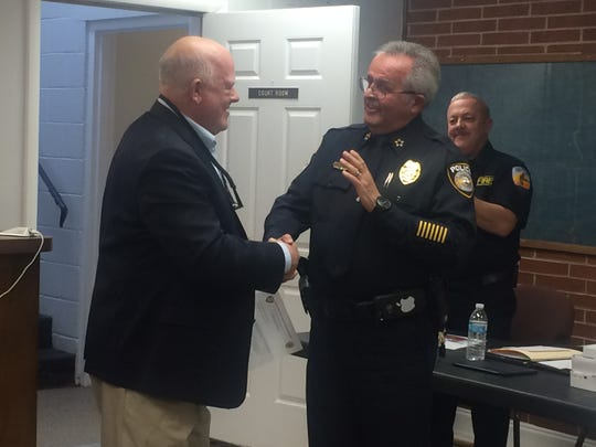 Ashland City officials recognize Chief Marc Coulon at the town's council meeting Jan. 15. Coulon will retire March 31.