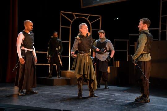 """Jordan Gleaves, left, Melinda Sewak, Morgan Davis, Andrew Johnson and Sam Ashdown in a scene from Nashville Shakespeare Festival's winter performance of """"Julius Caesar."""""""