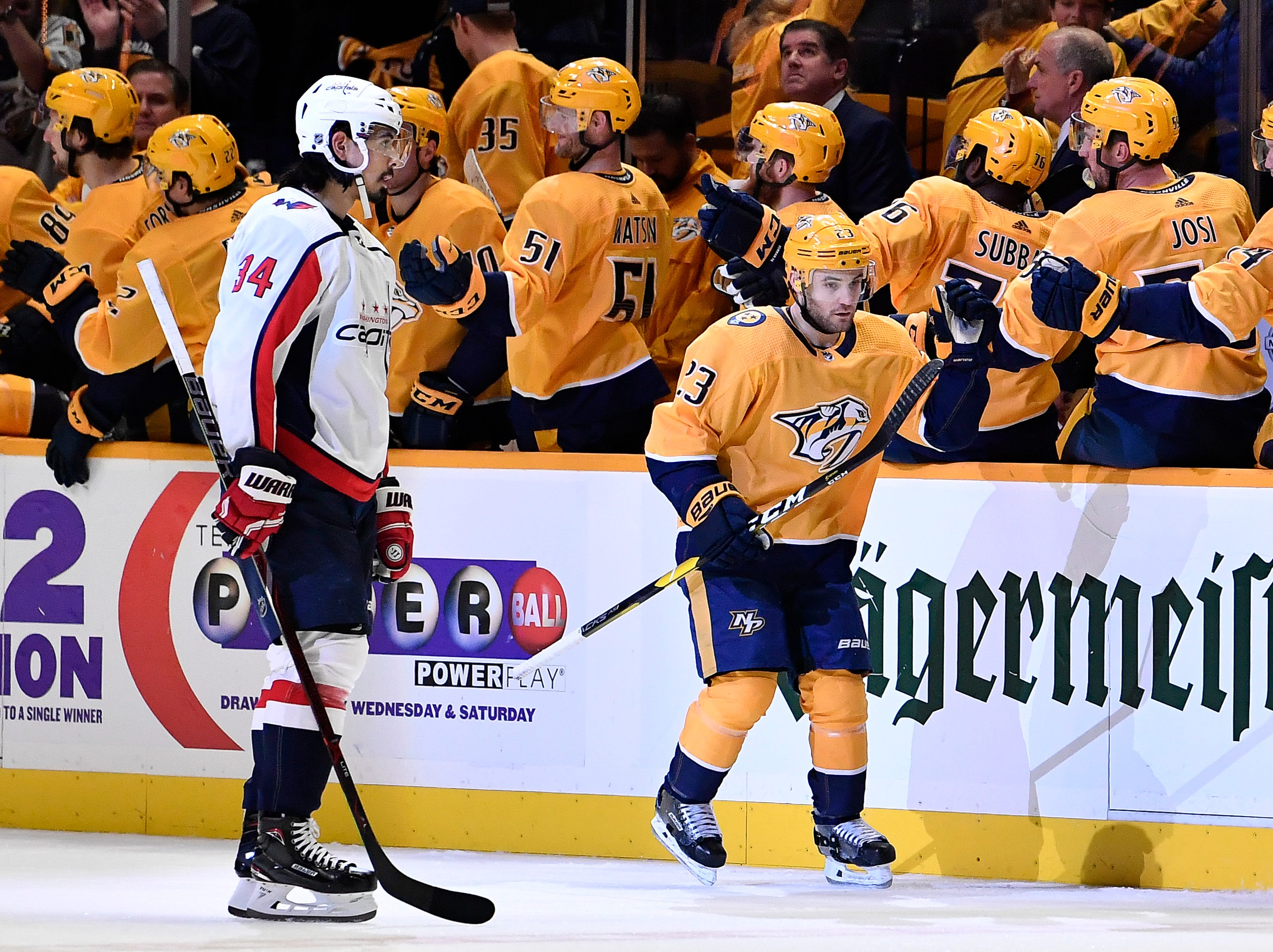 Predators center Rocco Grimaldi (23) is congratulated after his goal against the Capitals during the second period at Bridgestone Arena Tuesday, Jan. 15, 2019, in Nashville, Tenn.