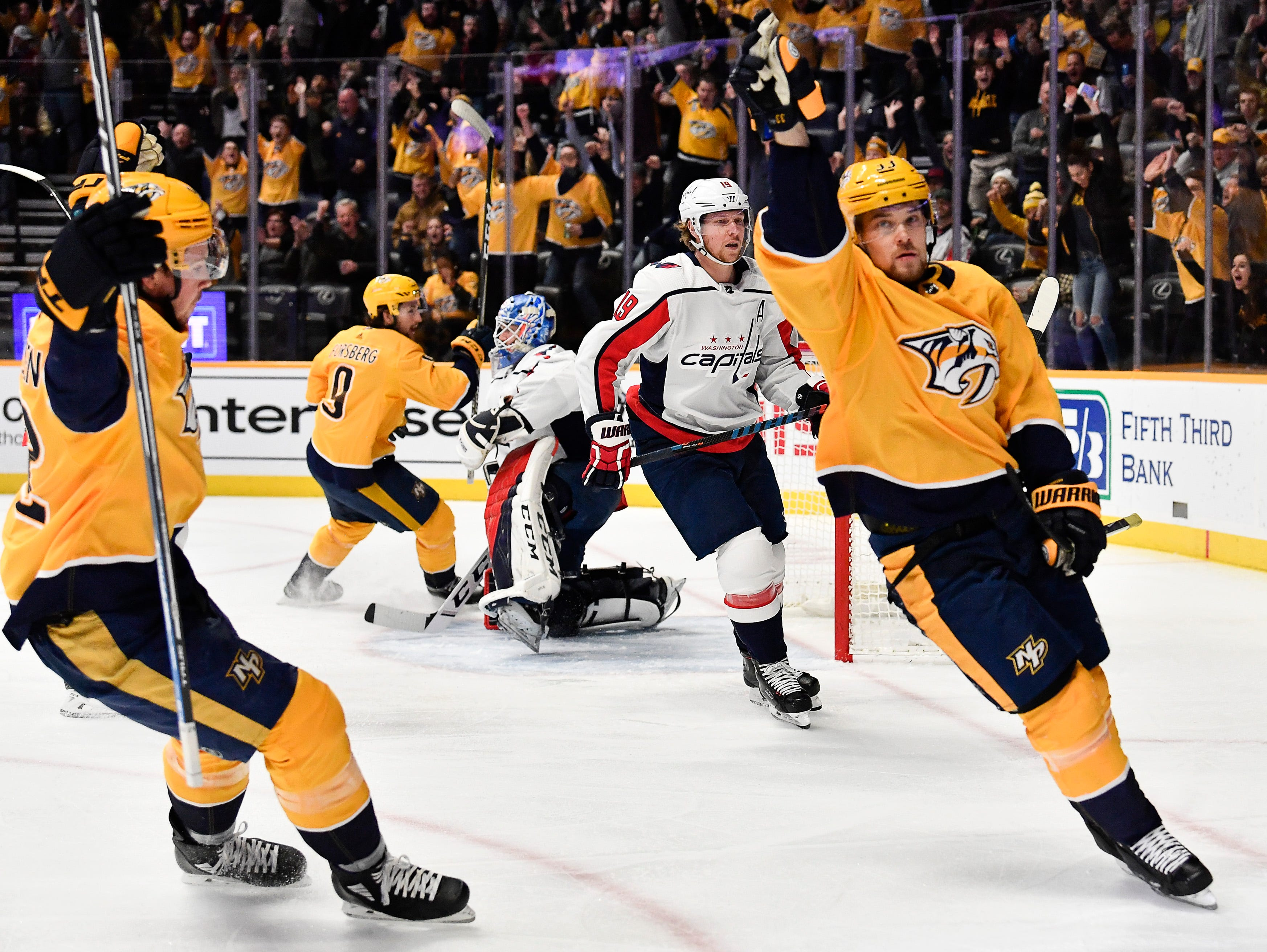 Predators right wing Viktor Arvidsson (33) celebrates his goal against the Capitals during the first period at Bridgestone Arena Tuesday, Jan. 15, 2019, in Nashville, Tenn.