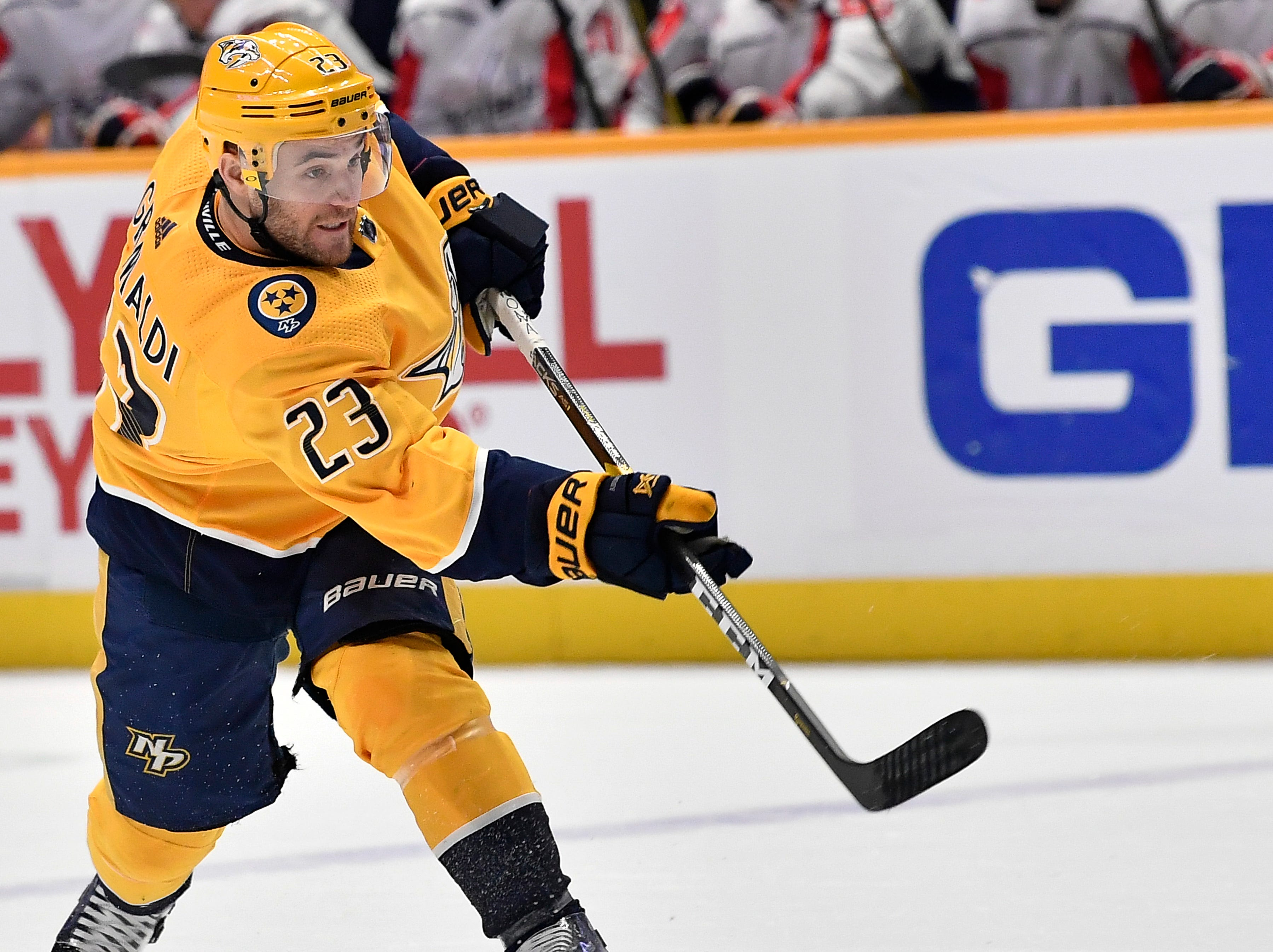 Predators center Rocco Grimaldi (23) shoots the puck during the first period against the Capitals at Bridgestone Arena Tuesday, Jan. 15, 2019, in Nashville, Tenn.