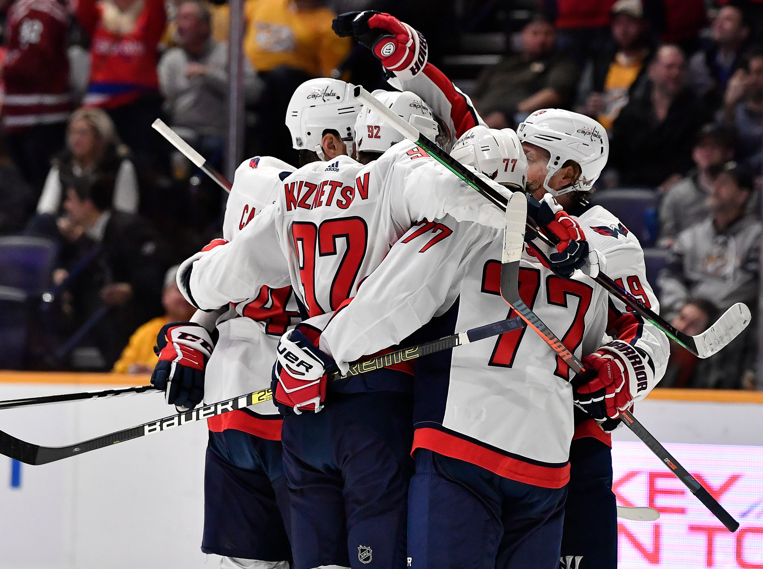 Capitals celebrate their goal by center Nicklas Backstrom (19) during the second period against the Predators at Bridgestone Arena Tuesday, Jan. 15, 2019, in Nashville, Tenn.
