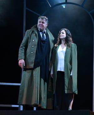 "Chuck Wagner as Caesar and Angela Madelaine-Johnson as Calpurnia in Nashville Shakespeare Festival's winter production of ""Julius Caesar."""